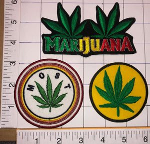 3 MARIJUANA CANABIS SATIVA MOST EMBLEM CREST PATCH LOT