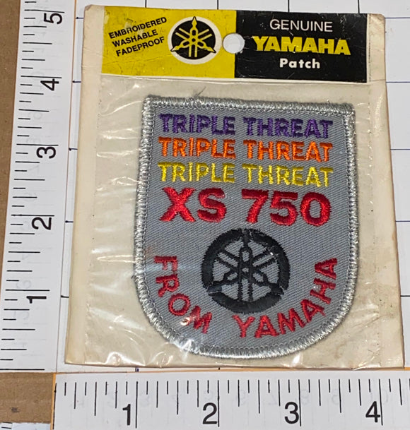 1 RARE VINTAGE YAMAHA MOTORCYCLE XS-750 TRIPLE THREAT BIKER CREST EMBLEM PATCH