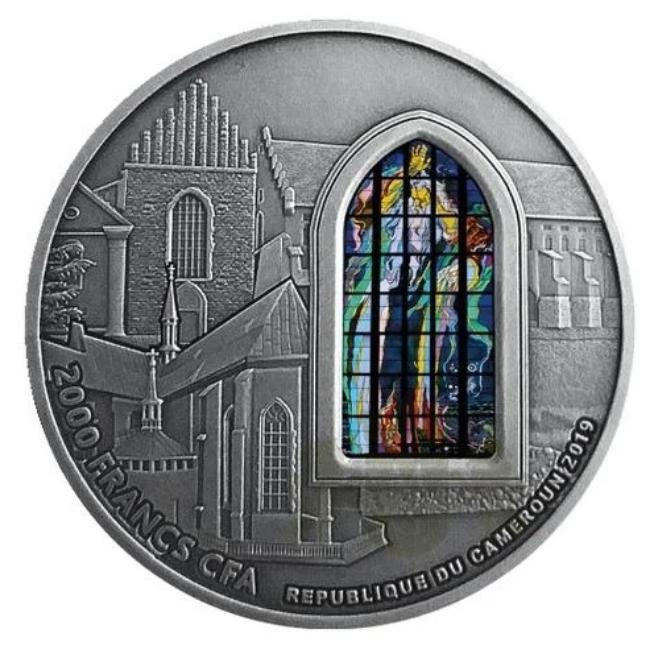 2019 Cameroon FRANCISCAN BASILICA IN CRACOW - Polished Stained Glass 2oz Silver - RareKoin