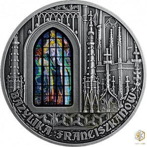 2019 Cameroon FRANCISCAN BASILICA IN CRACOW - Polished Stained Glass 2oz Silver - RK
