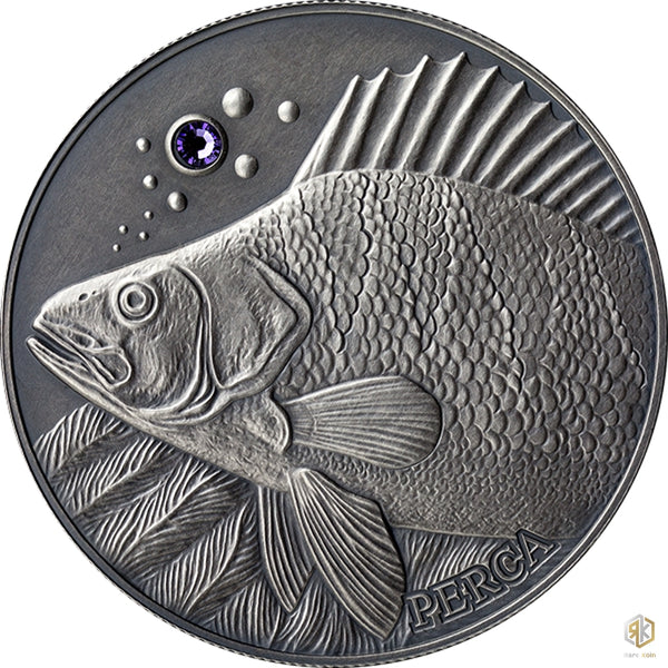 2014 Andorra FISH PERCH Atlas of Wildlife 1oz Silver Antique Coin - RK