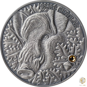 2014 Andorra WILD BOAR 1oz Silver Antique Coin - RK