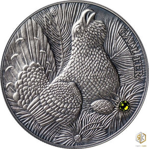 2014 Andorra WOOD GROUSE 1oz Silver Antique Coin - RK