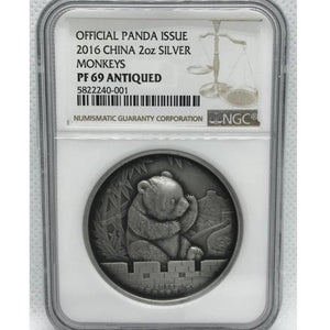 2016 China Panda Monkey 2oz Silver Antique Coin NGC PF69 - RareKoin