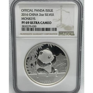 2016 China Panda Monkey 2oz Silver Proof Coin NGC PF69 - RareKoin