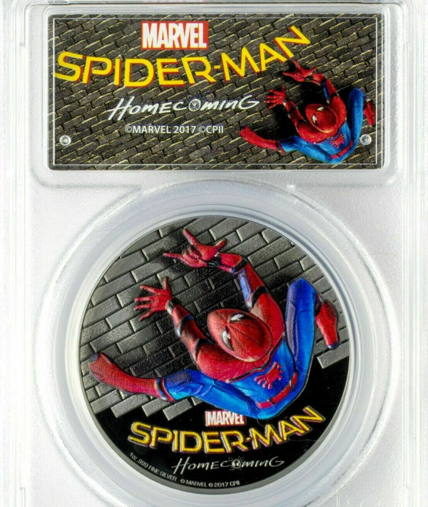 2017 Cook Islands SPIDERMAN Homecoming PR69 Silver Coin - RareKoin