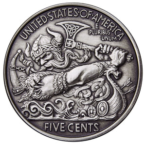 2017 United States VIKING BERSERKER 1oz Silver Antique Coin - RK