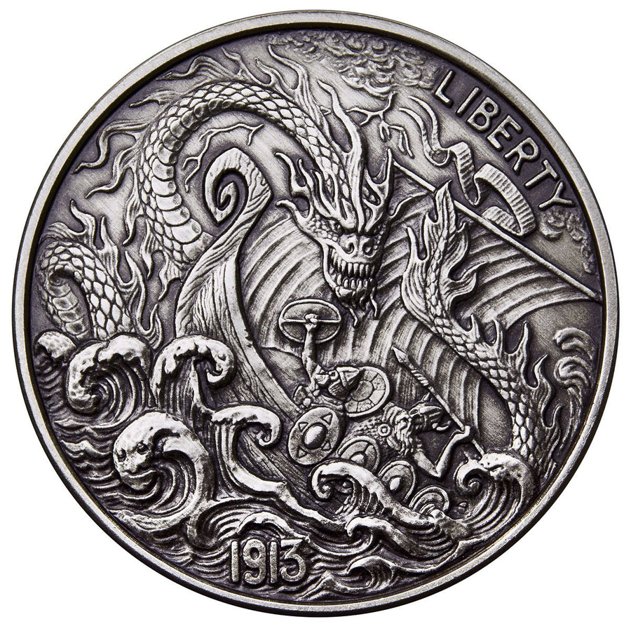2017 United States VIKING BERSERKER 1oz Silver Antique Coin - RareKoin