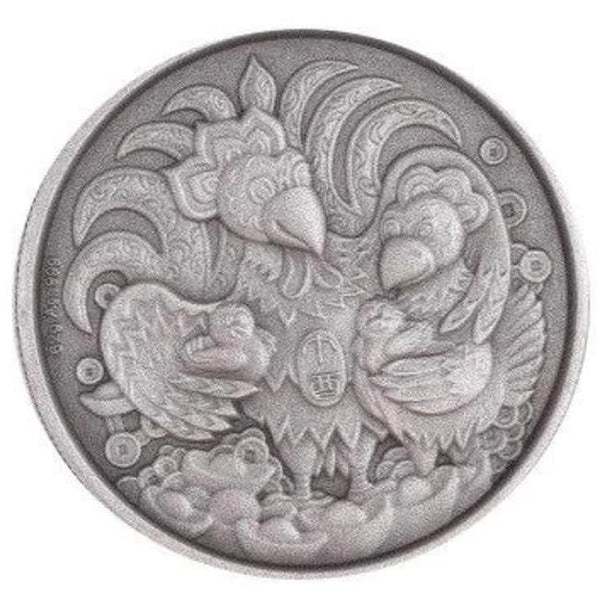 2017 Chinese Lunar Panda Year of the Rooster Silver Antique Coin - RareKoin