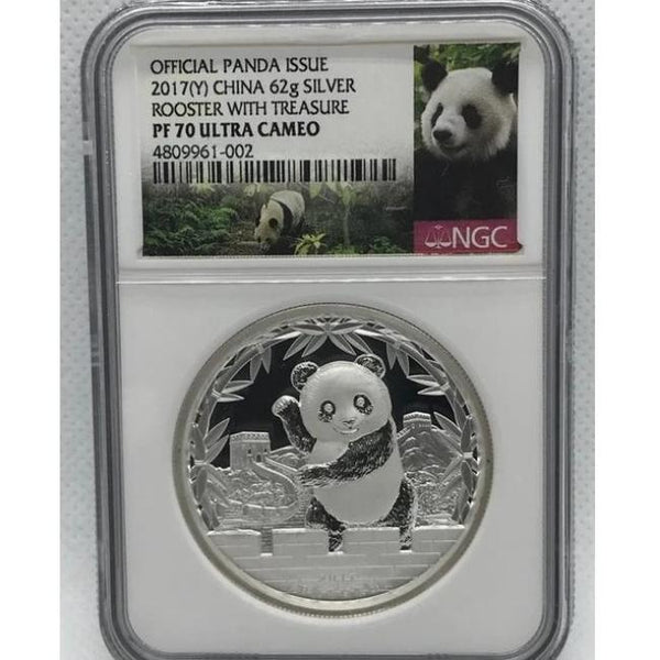2017 Chinese Lunar Panda Year of the Rooster Silver Proof NGC PF70 Coin - RareKoin