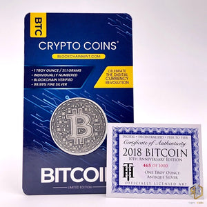 2018 BITCOIN 10th Anniversary Edition 1oz Silver Antique Coin - RK