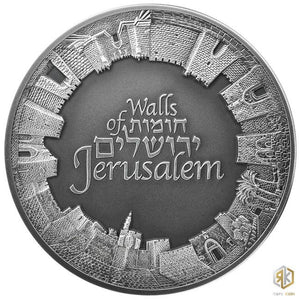 2018 Israel WALLS OF JERUSALEM 3oz Silver Antique Coin - RareKoin