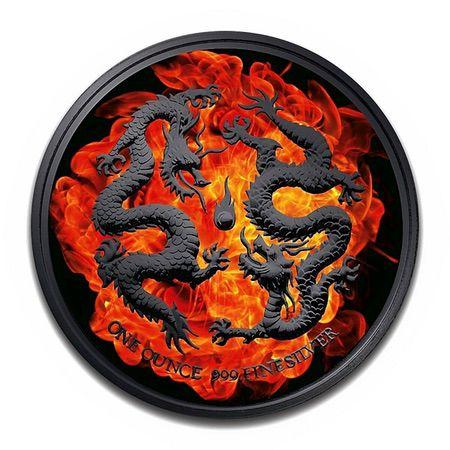 2018 Niue BURNING DRAGON Ruthenium Plated 1oz Silver Coin - RareKoin