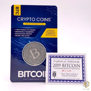 2019 BITCOIN Commemorative 1oz Silver Antique Coin - RareKoin