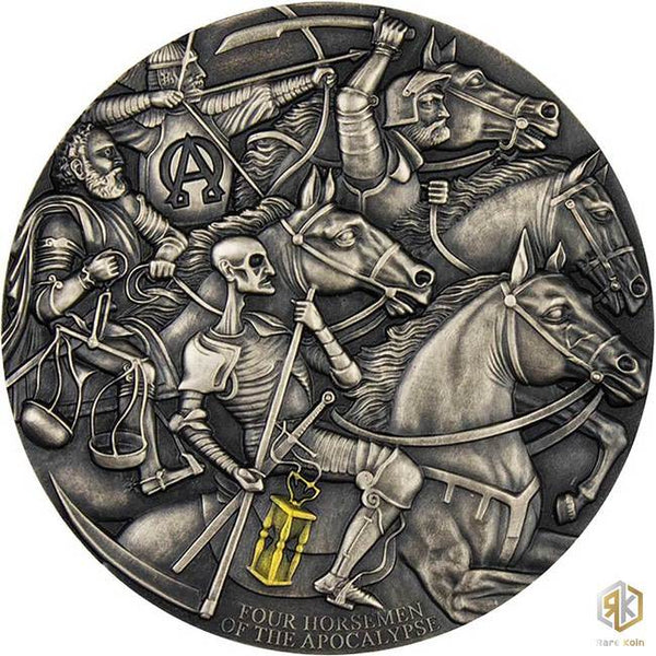 2019 Cameroon FOUR HORSEMEN OF THE APOCALYPSE 3oz Silver Antique Coin - RareKoin