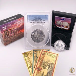 Poseidon Bundle - 1 Poseidon 3oz Collector Coin, 1/2 oz Lunar Coin, & 3 24K Gold Bills (1, 5, & 10) - RareKoin