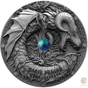 2019 Niue NORSE DRAGON Azurite Dragons 2oz Silver Antique Coin - RK
