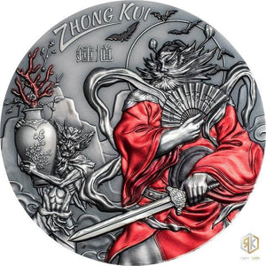 2019 Cook Island ZHONG KUI Asian Mythology 3oz Silver Antique Coin - RareKoin
