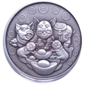 2019 Chinese Lunar Panda Year of the Pig Silver Antique Coin - RareKoin