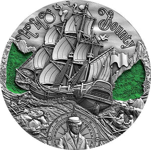 2019 Cameroon HMS BOUNTY Golden Age of Sail 2oz Silver Antique Coin - RareKoin