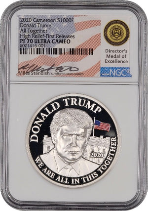 2020 Cameroon DONALD TRUMP All Together (PF70) 1oz Ultra Cameo High Relief Silver Coin - RareKoin