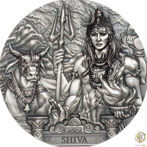 2020 Cook Islands SHIVA 3oz Silver Antique Coin - RareKoin