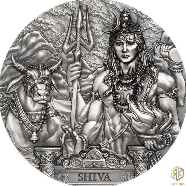 2020 Cook Islands SHIVA 3oz Silver Antique Coin - RK