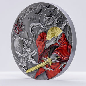 2020 Cook Island ZHONG KUI (GILDED) Asian Mythology 3oz Silver Antique Coin - RK