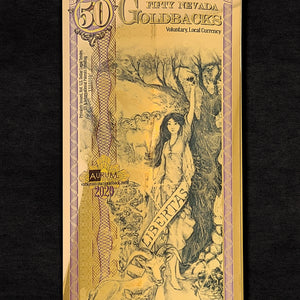 2020 NEVADA Goldback 50 Bill - 24k Gold Bill - RK