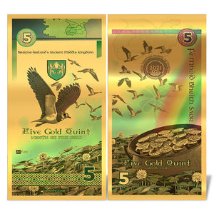 2021 Ireland Kingdom of Breifne 5 Quint - 24k Gold Note - RK