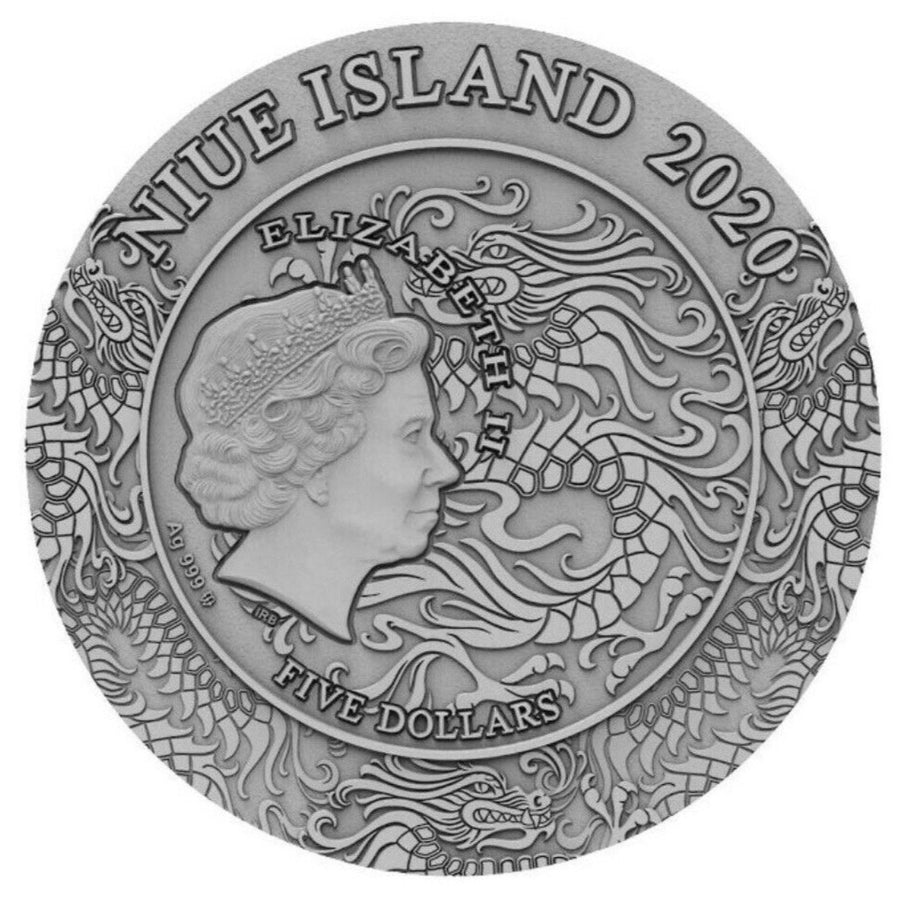 2020 Niue Island Lyu Bu Ancient Chinese Warriors 2oz Silver Antique Coin - RK