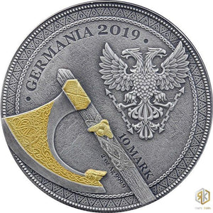 2019 Germania BERSERK - The Warriors 2oz Silver Antique Coin - RK