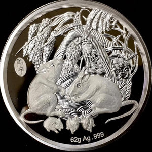 2020 Chinese Lunar Panda Classic Year of the Mouse Silver Antique Coin - RareKoin