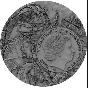 2020 Niue Island Black Horse Four Horseman of the Apocalypse 2oz Silver Antique Coin - RK