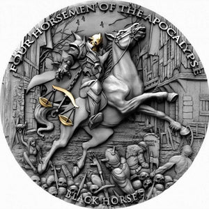 2020 Niue Island Black Horse Four Horseman of the Apocalypse 2oz Silver Antique Coin - RareKoin