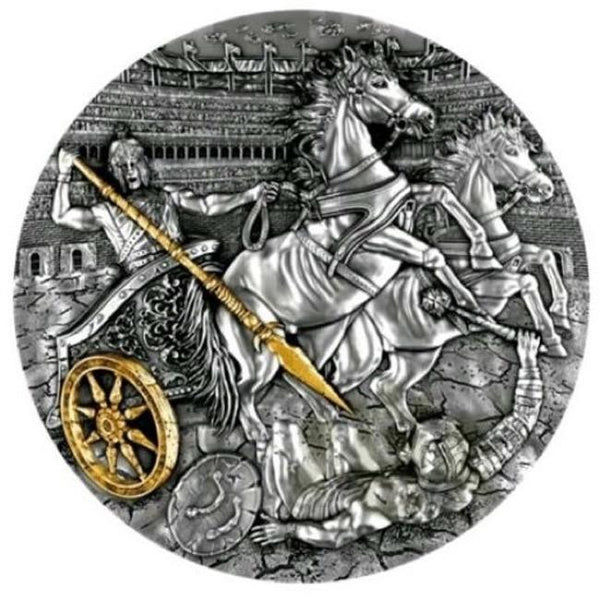 2019 Niue Chariot 2 oz Antique finish Silver Coin - RareKoin