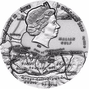 2019 Niue LEONIDAS Thermopylae Great Commanders 2 Oz Silver Coin - RareKoin