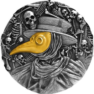 2019 Niue Plague Doctor Mask High Relief 2 oz Silver - RareKoin