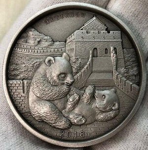 2018 China Lunar Dog Panda Classic 2oz Silver Antique Medal Shenyang Mint