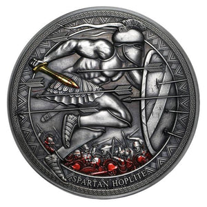 2019 Cameroon 3 oz Silver Legendary Warriors: Spartan Hoplite - RK