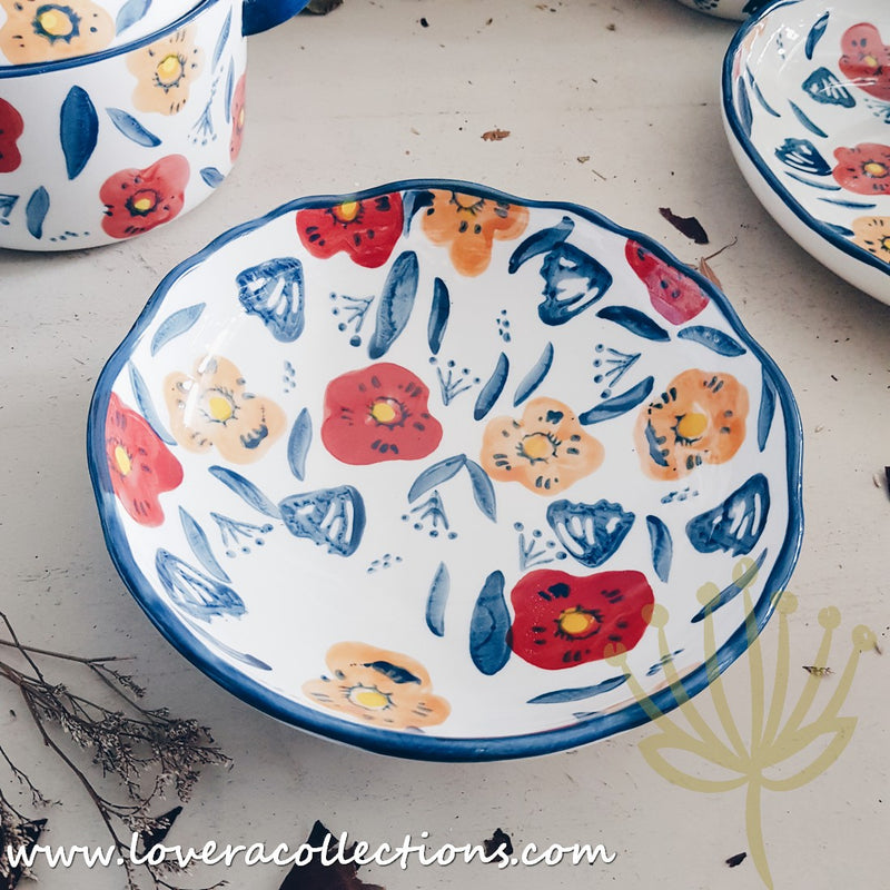 Handmade Blue Poppy Drinkware & Dinnerware Collection