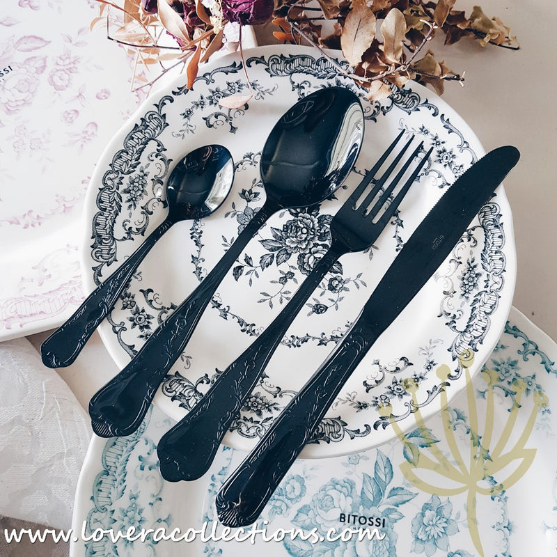 Bitossi Home Retrò Stainless Steel Black Shiny Cutlery Set
