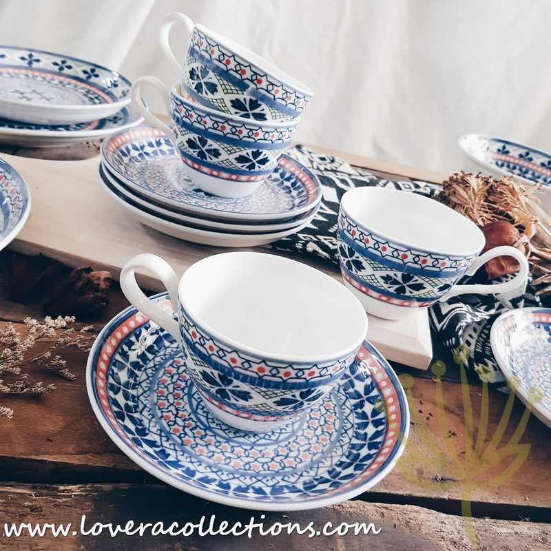 Awasaka Japan Blue Four Leaves Tea & Dinnerware Collection