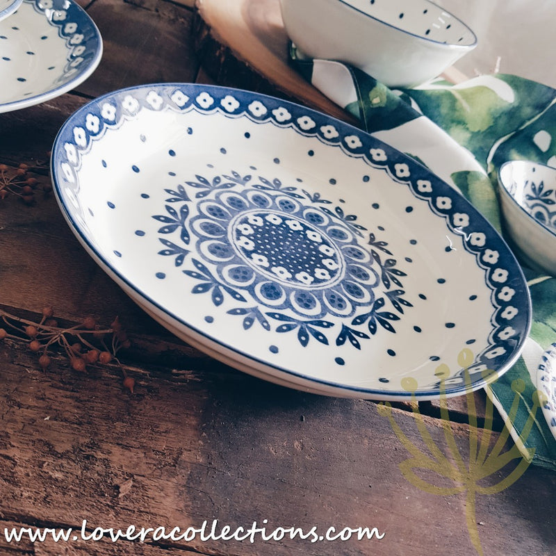 Awasaka Japan Blue & White Polka Dots Tea & Dinnerware Collection