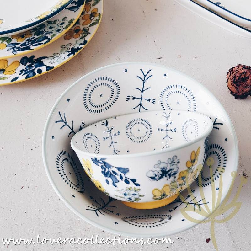 Botanic Yellow & Blue Floral Dinnerware & Serveware Collection