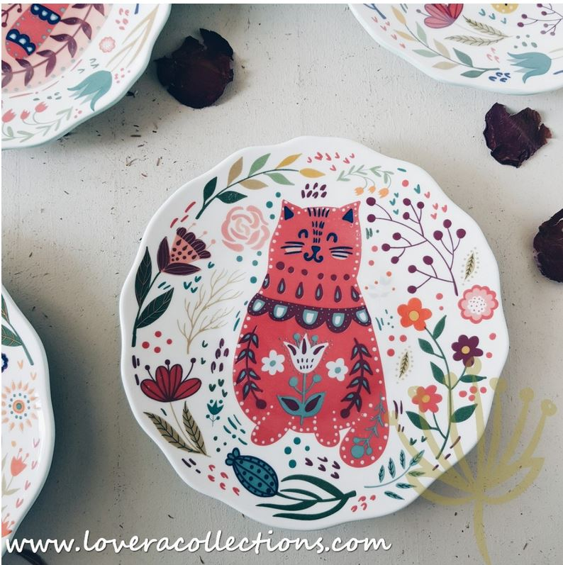 Forest Cats Floral Salad Plates