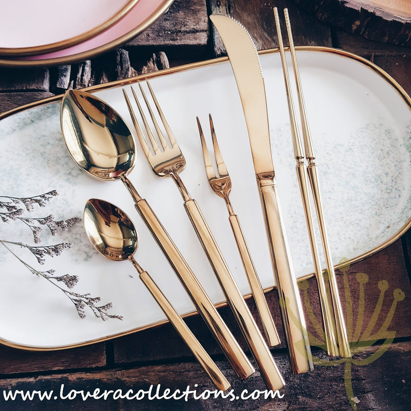 Claris Shiny Gold / Silver / Bronze Ion Plated Stainless Steel SS304 Cutlery Collection