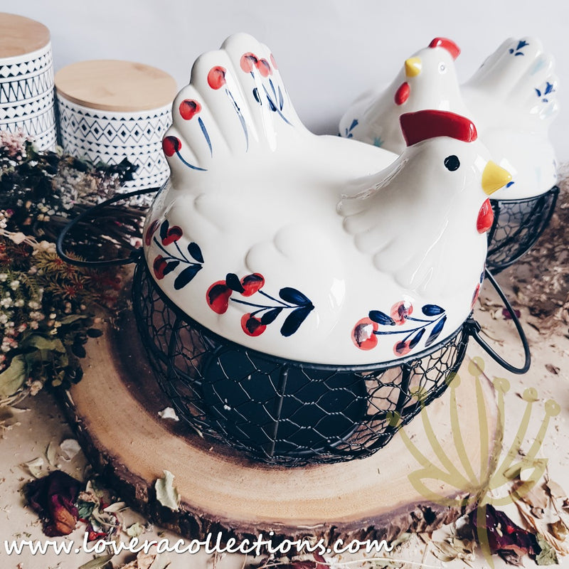 Country Rooster Eggs / Onion Basket