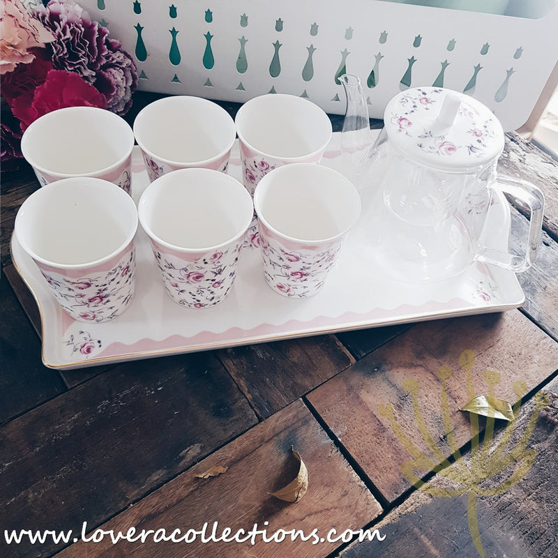 Dainty Garden Pink Tea Set With Cups For 6 Pax & Serving Tray with Gift Box