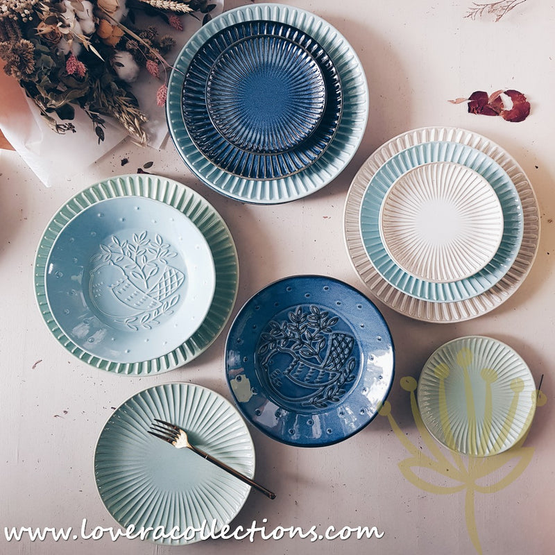 Eden Shell & Bird Dark Blue Dinnerware Collection